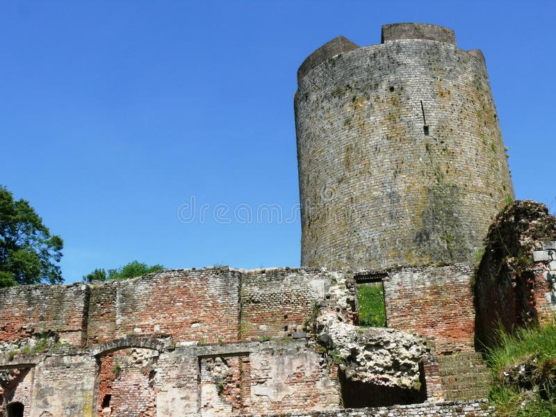 Donjon Castle Guise. Donjon Castle Guise in the Aisne in France royalty free stock images