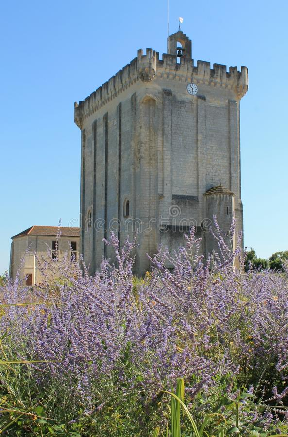 Donjon, Pons ( France ). The site formerly occupied by the mighty fortress of the Sires of Pons is now essentially a vast esplanade turned into a public garden stock image