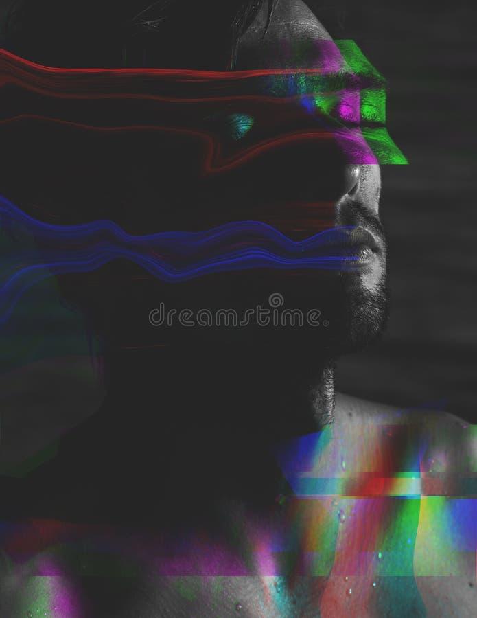 Donker atmosferisch portret van een ontspannen mens met ongebruikelijke glitch e vector illustratie