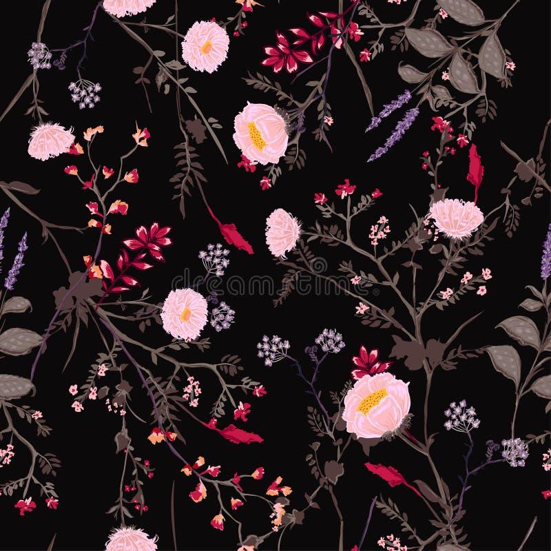 In donker Bloemenpatroon in het vele soort bloemen tropisch vector illustratie