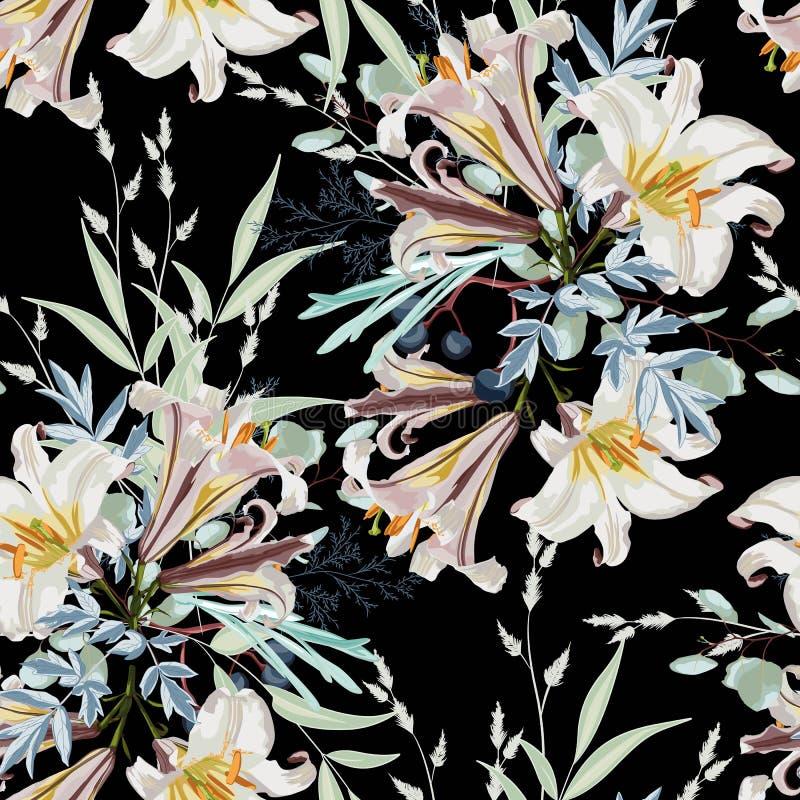 In donker Bloemenpatroon met het vele soort bloemen de botanische Motieven verspreidden willekeurig stock illustratie