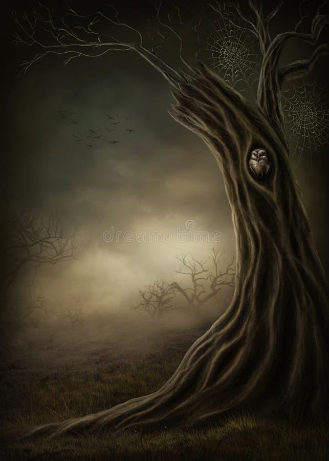 Donker bos stock illustratie