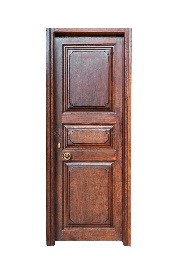 Donker bruin kader en paneel houten deur stock afbeelding