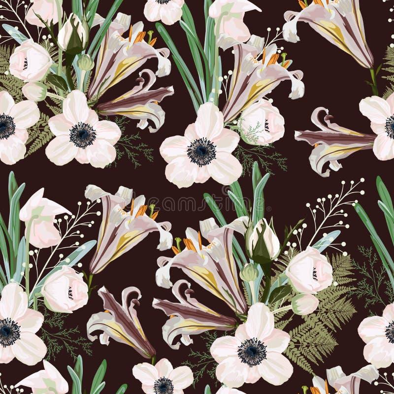 In donker bruin uitstekend Bloemenpatroon met het vele soort bloemen vector illustratie