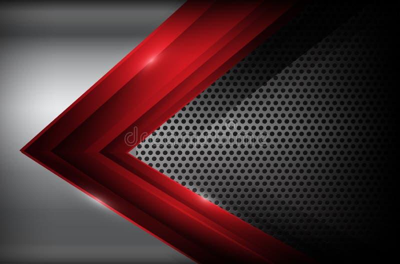 Donker chroomstaal en de rode abstracte achtergrond ve van het overlappingselement vector illustratie