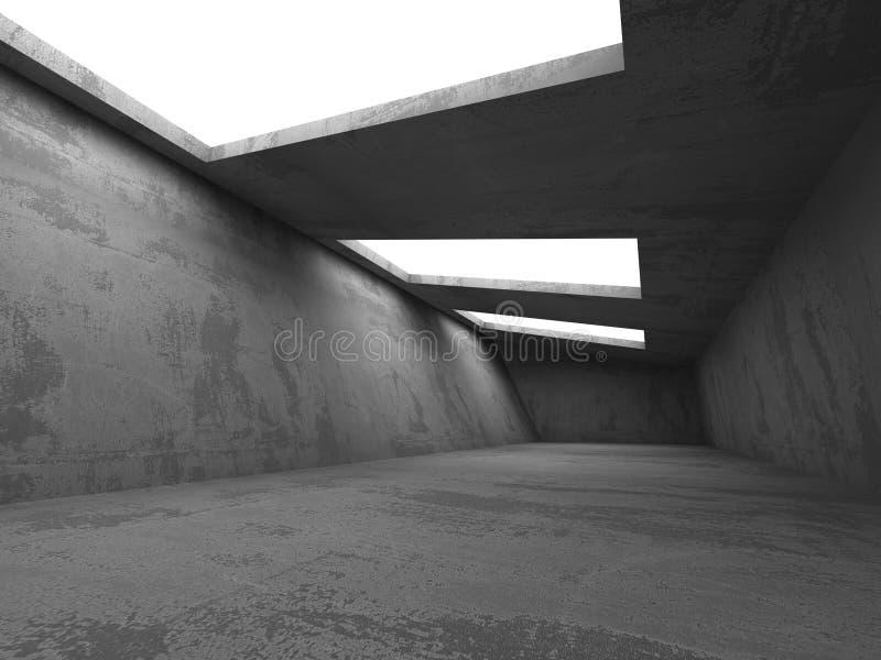 Donker concreet ruimtebinnenland Abstracte architectuur industriële bedelaars stock afbeelding