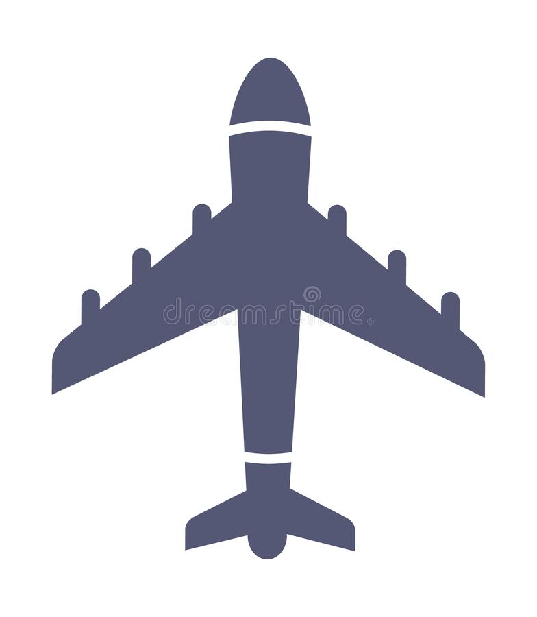 Donker eenvoudig vliegtuigpictogram in vlakke stijlvector stock illustratie