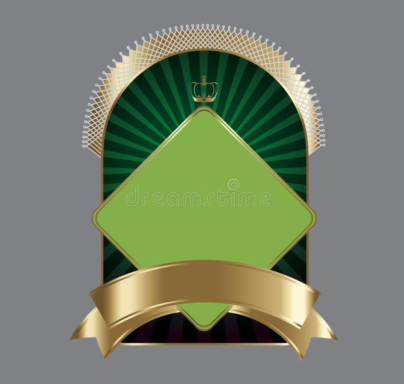 Donker en gouden etiket   stock illustratie