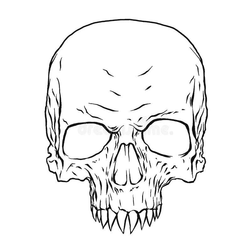 Donker Fang Skull, Illustratievector royalty-vrije illustratie