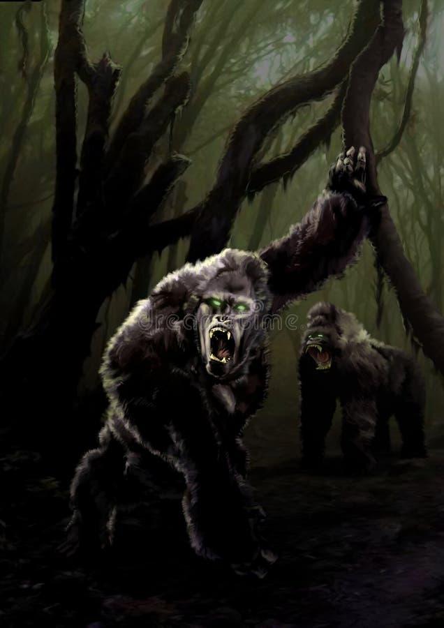 Donker Forest Apes vector illustratie