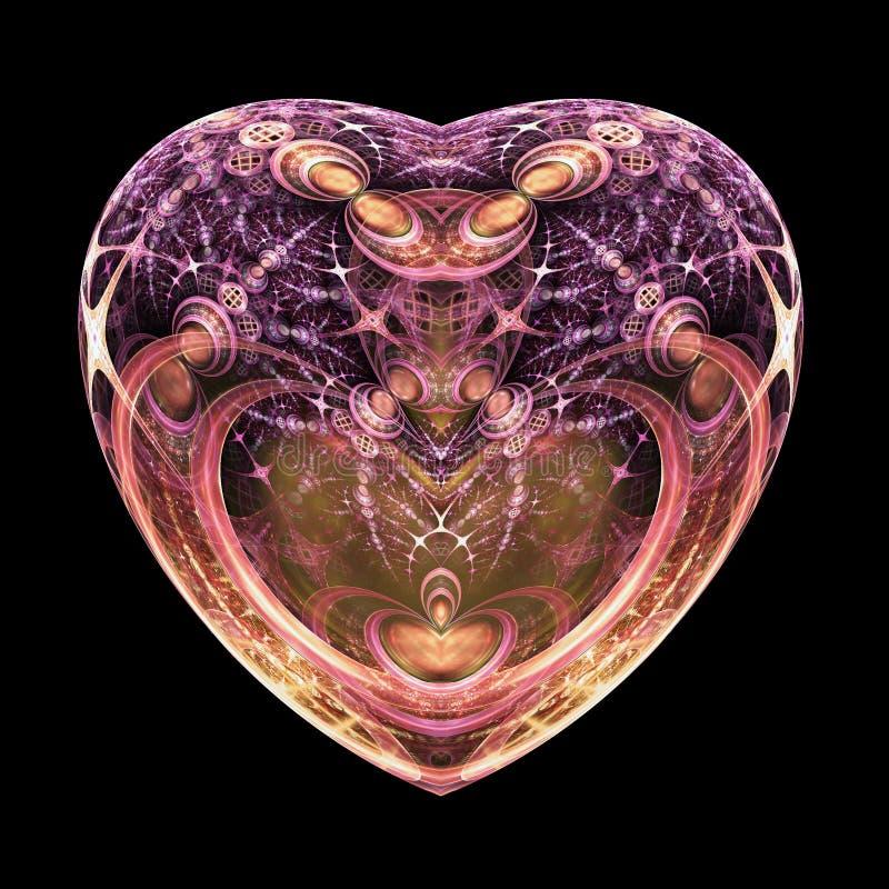 Donker geïsoleerd fractal hart stock illustratie