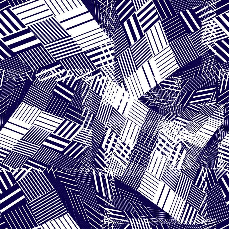 Donker geometrisch tegels naadloos patroon, vectormozaïek geregeld Dec stock illustratie