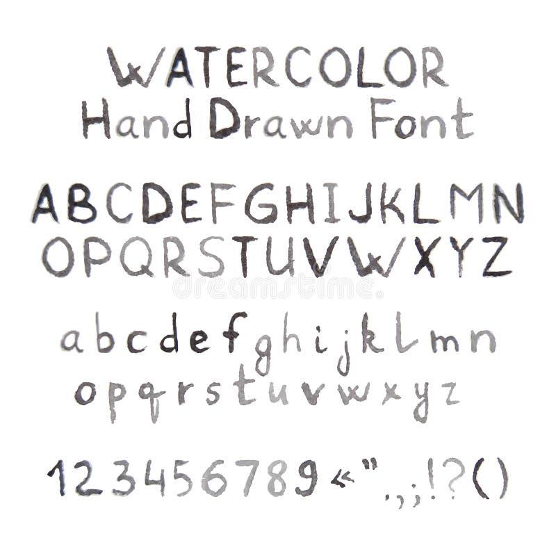 Donker Grey Watercolor Hand Drawn Font royalty-vrije illustratie