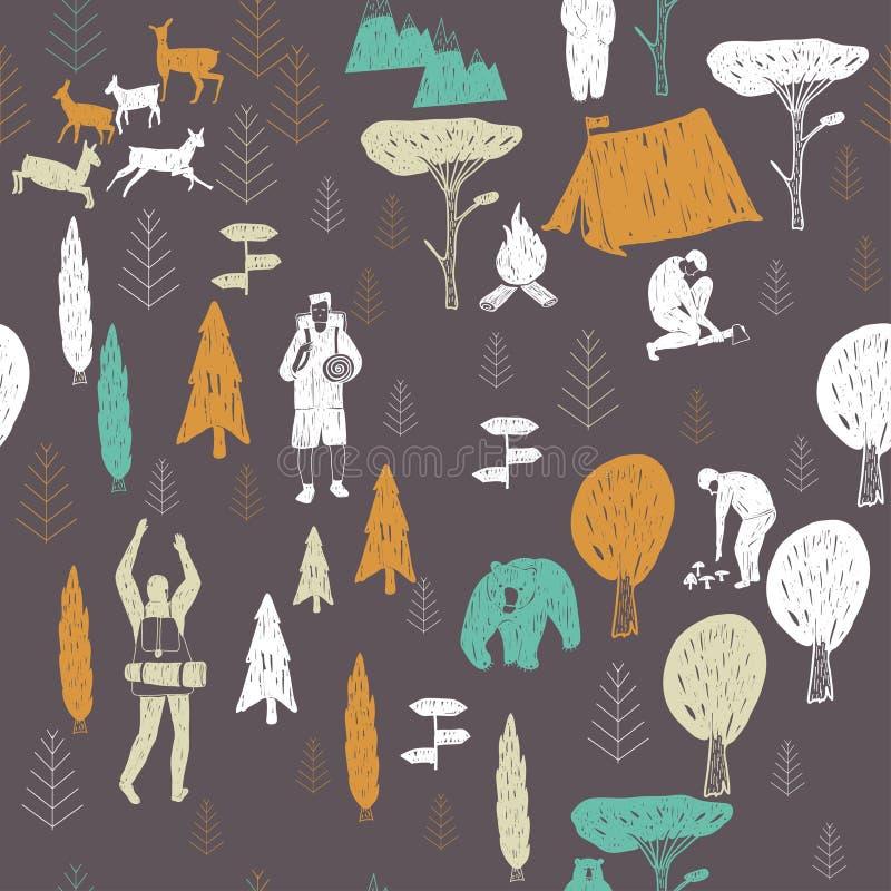 Donker het kamperen patroon stock illustratie