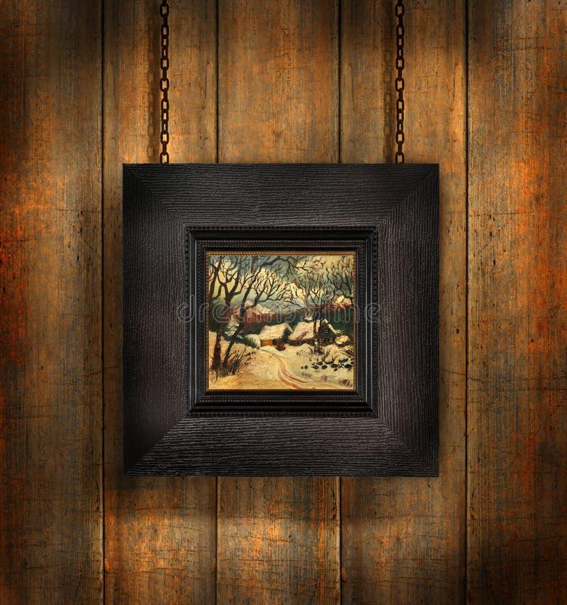 Donker houten frame tegen hout stock afbeelding