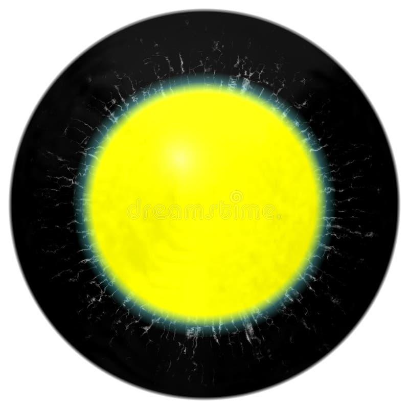 Donker oog met open leerling en heldere retina op achtergrond Donkere kleurrijke iris rond leerling, geïsoleerd oog royalty-vrije illustratie