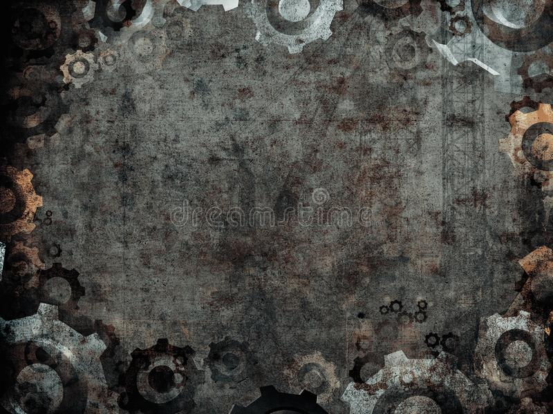 Donker roestig industrieel fabriekskader stock illustratie