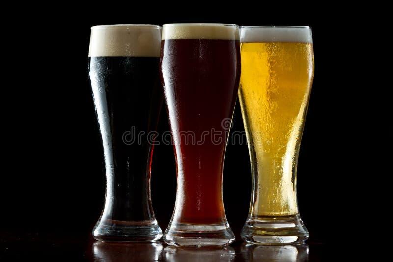 Donker, rood en licht bier royalty-vrije stock fotografie