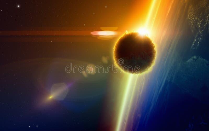 Donker UFO, de buitenaardse benaderingen van de het levensvorm van gloeiend vliegtuig stock illustratie