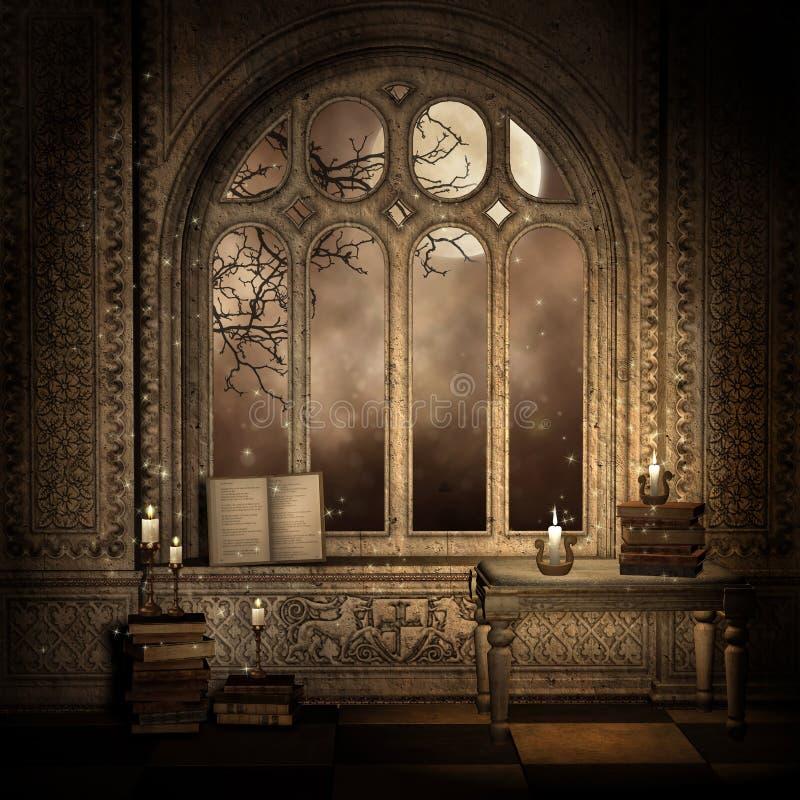 Donker venster met boeken
