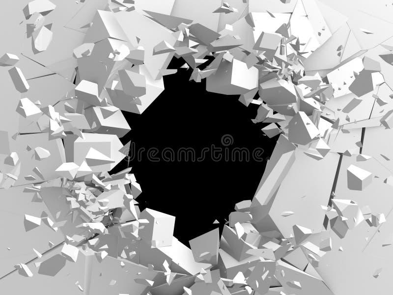 Donker vernietiging gebarsten gat in witte steenmuur stock illustratie