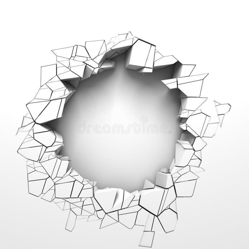 Donker vernietiging gebarsten gat in witte steenmuur royalty-vrije illustratie