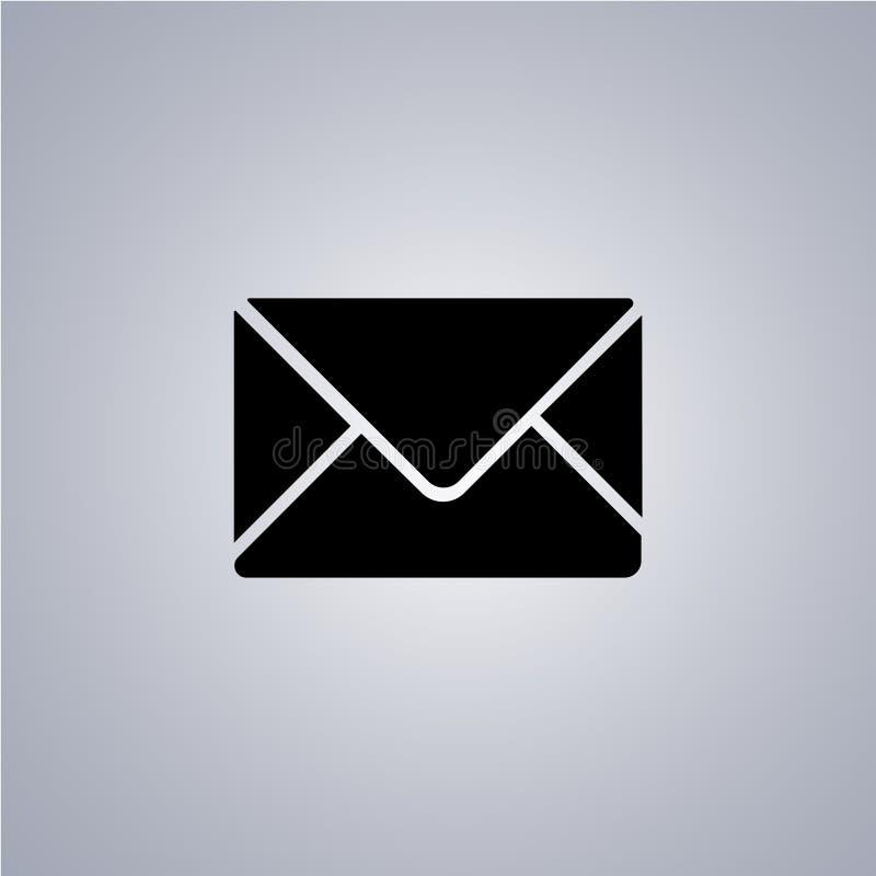 Donker verzegeld enveloppictogram op grijze achtergrond royalty-vrije illustratie