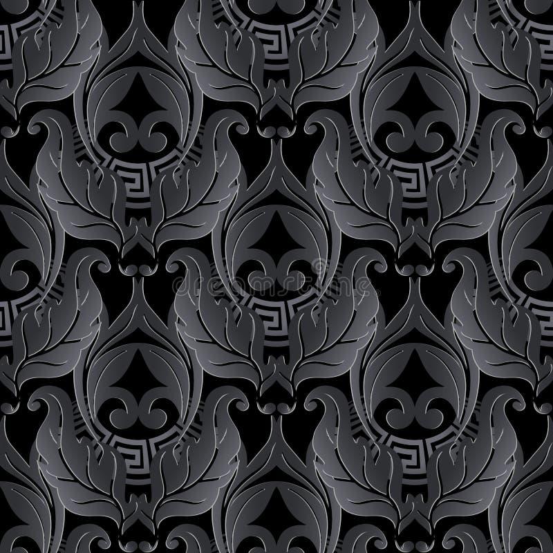 Donker zwart 3d barok naadloos patroon Vector sier zwarte Damastachtergrond Uitstekende bloemenornamenten met oppervlaktebloemen, royalty-vrije illustratie