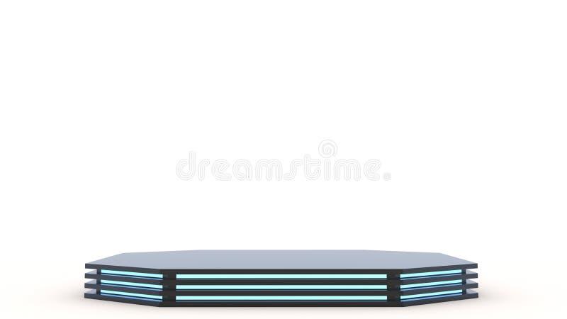 Donker Zwart metallvoetstuk met leeg stadium Ruimte om uw tekst of voorwerp te plaatsen 3d Blauw Neon stock illustratie