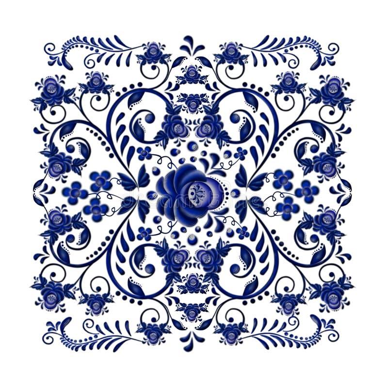 Donkerblauw bloemenornament in nationale Russische stijl Gzhel op witte achtergrond royalty-vrije stock afbeelding