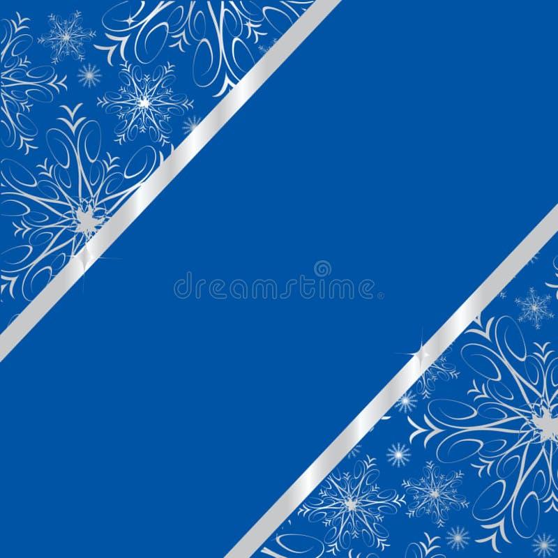 Donkerblauw de winterframe met zilveren sneeuwvlokken royalty-vrije illustratie