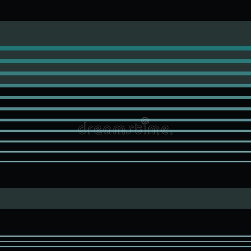 Donkerblauw en grijs horizontaal gestreept ontwerp in verfijnde lay-out Naadloos geometrisch vectorpatroon op zwarte royalty-vrije illustratie