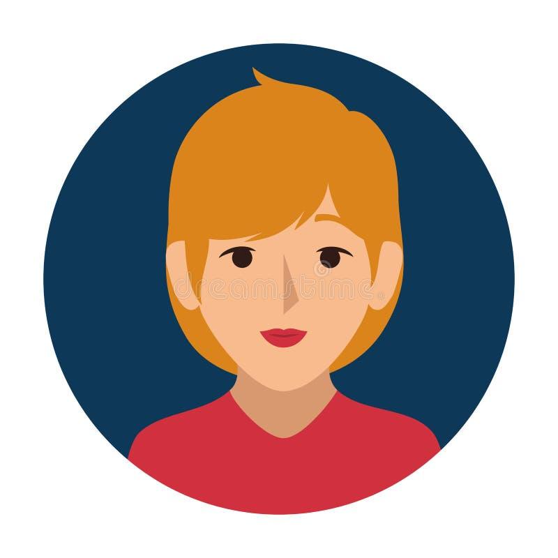 Donkerblauw gebied van halve lichaamsvrouw met blond haar royalty-vrije illustratie