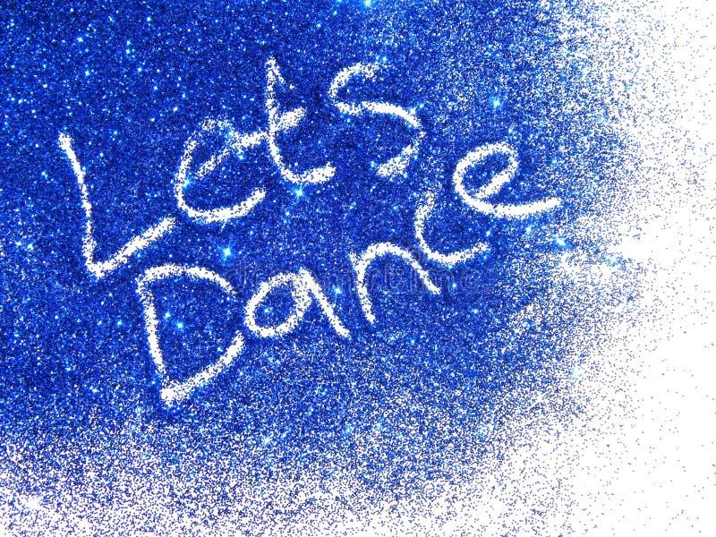 Donkerblauw schitter fonkeling met woorden dans op witte achtergrond stock afbeeldingen