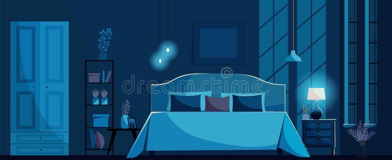 Donkerblauw Slaapkamerbinnenland met een bed, nightstand, een plank, een garderobe, een aanstekende bedlamp en vensters Maanlicht vector illustratie