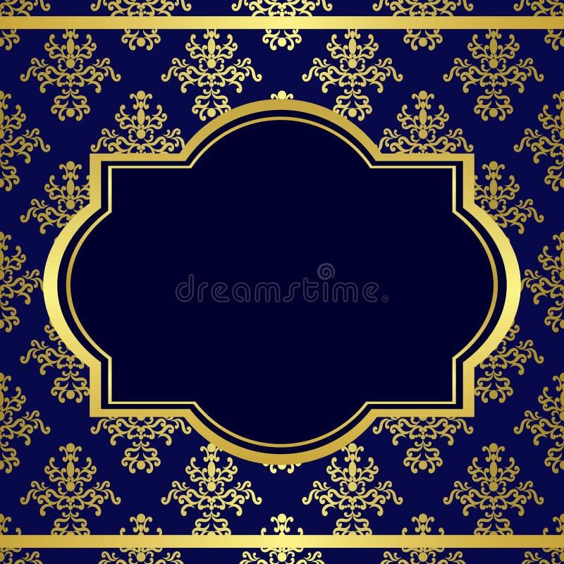 Donkerblauwe achtergrond met centrum gouden frame vector illustratie