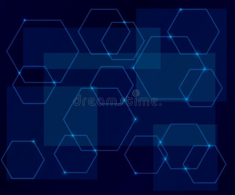 Donkerblauwe achtergrond met geometrische vormen stock illustratie