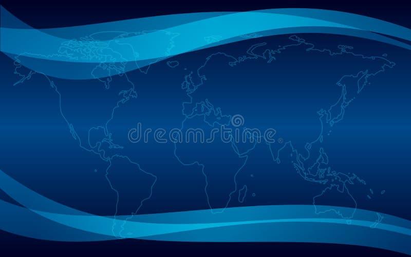 Donkerblauwe achtergrond met kaart royalty-vrije illustratie