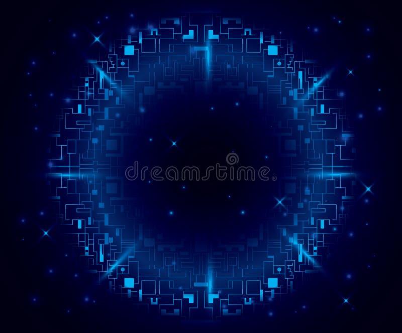 Donkerblauwe achtergrond met rond element - eps 10 vector illustratie
