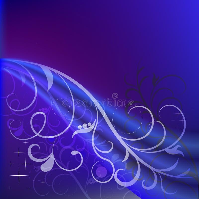 Donkerblauwe bloemenachtergrond stock illustratie