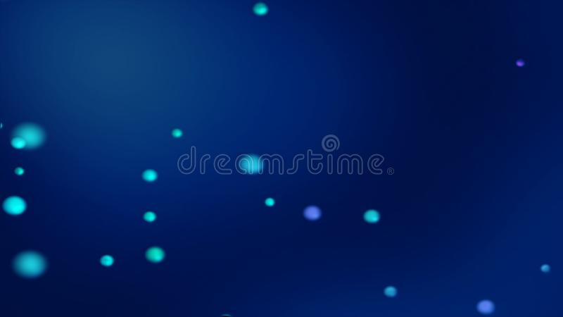 Donkerblauwe bokehachtergrond met vage gloeiende blauwachtige gebieden vector illustratie