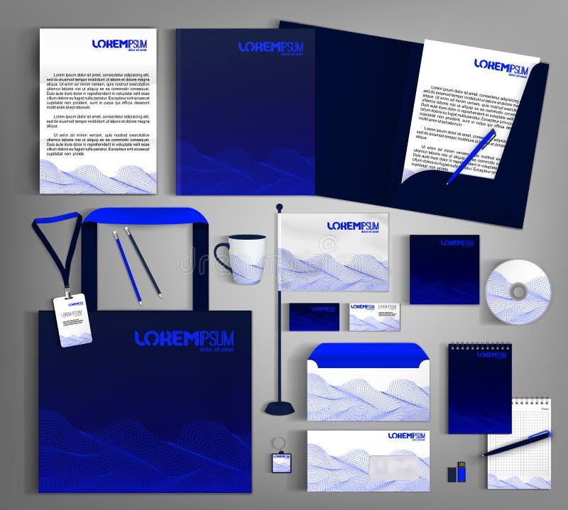 Donkerblauwe collectieve Identiteit Modern editable malplaatje stock illustratie
