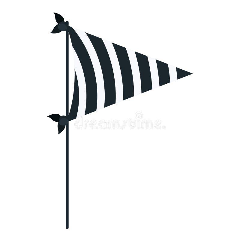 Donkerblauwe decoratieve de vlaggenpartij van het kleurensilhouet met diagonale lijnen binnen voor viering vector illustratie