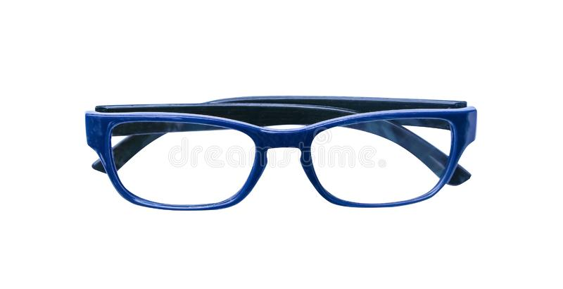 Donkerblauwe die glazen op witte achtergrond met het knippen van weg worden geïsoleerd stock foto's