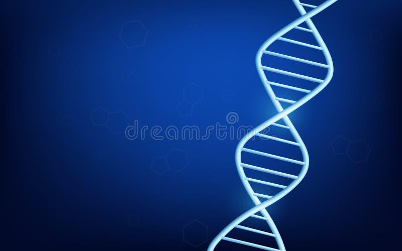 Donkerblauwe gloeiende achtergrond met de moleculaire structuur van DNA royalty-vrije illustratie
