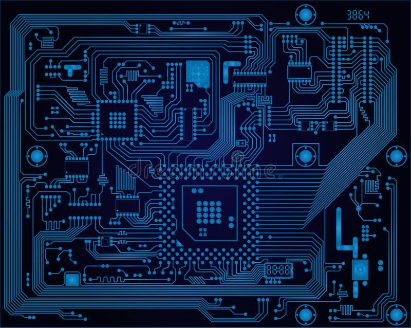 Donkerblauwe industriële elektronische kringsraad vect stock illustratie