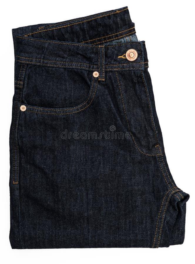 Donkerblauwe jeans Ge?soleerde royalty-vrije stock foto
