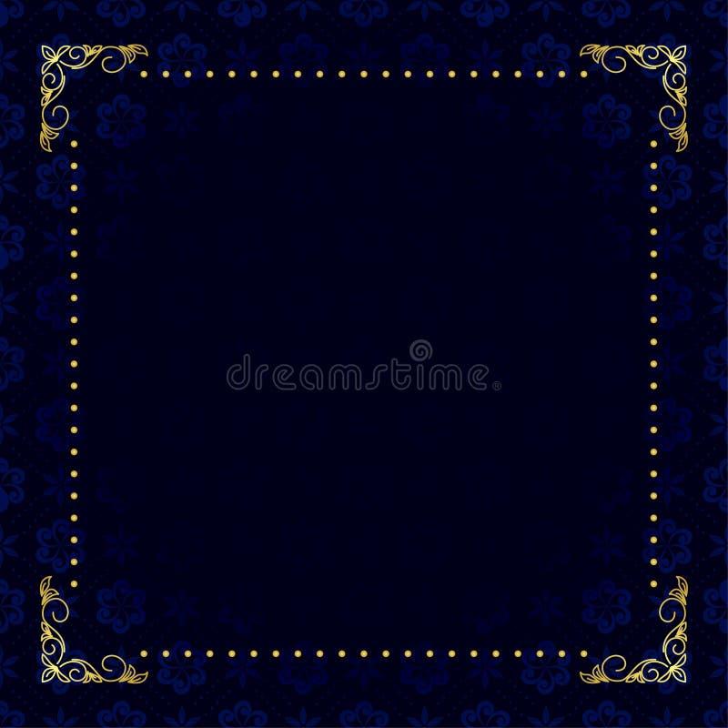 Donkerblauwe kaart met gouden frame stock illustratie
