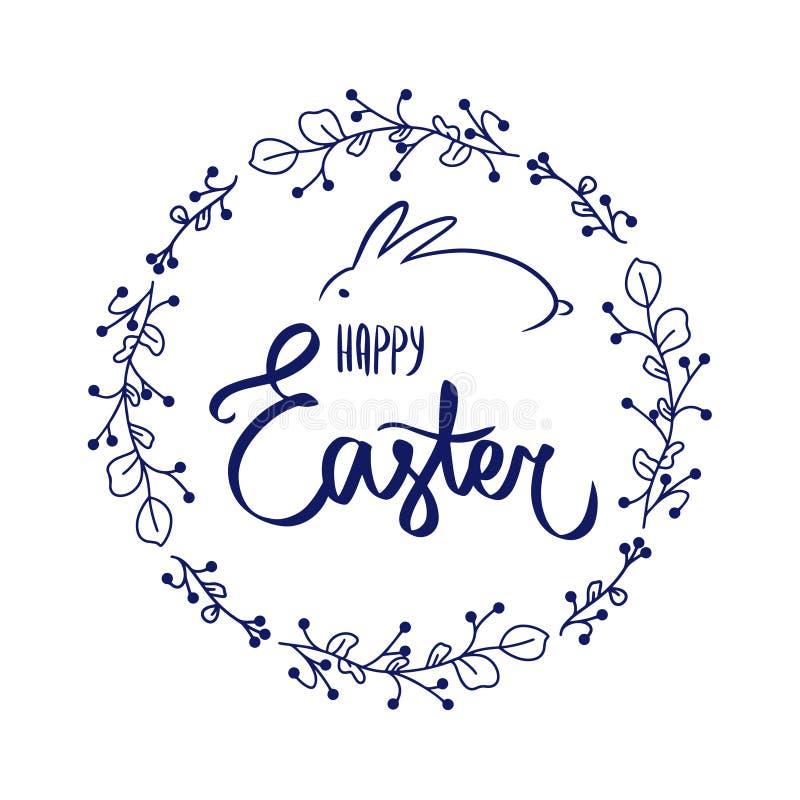 Donkerblauwe kaart met zoet vakantiekonijn Gelukkige blauwe het konijntjesvector van Pasen vector illustratie