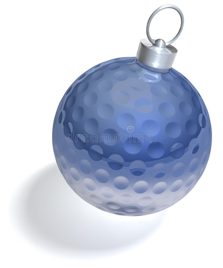 Donkerblauwe kerstboombal golfball royalty-vrije illustratie